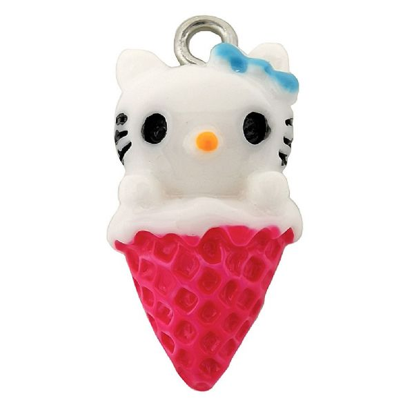 Acrylic Kitty Ice Cream Cone Hot Pink 12x21mm